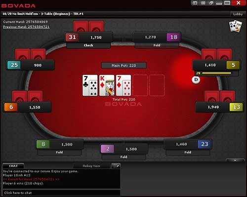 Bovada poker uses the Bodog Network software, where the biggest difference to other online poker sites is the anonymous player policy where the names of other players are not displayed on screen.