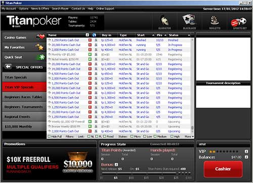 Titan Poker is an excellent site for the lower stakes players with great player traffic figures all the way up to $2/$4
