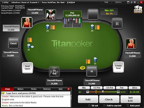 Titan Poker's software is made by Playtech who are well thought of in the industry